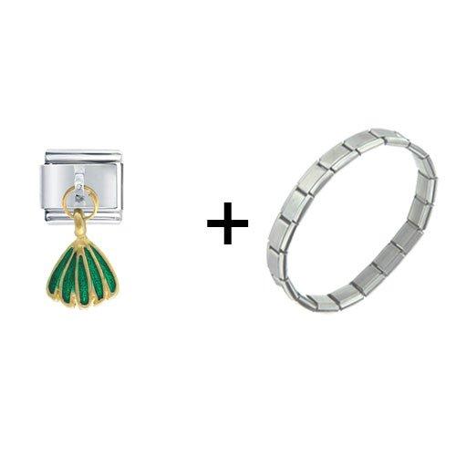 Golden Italian Charm Bracelet Dangle Tone Green Skirt