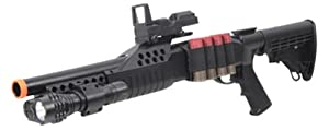 Airsoft Shotgun Pump w/ Shells - Flashlight - Red Dot