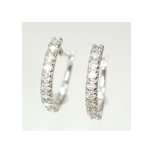 [キュートジュエリー]Cute jewerly ダイヤモンドピアス ダイヤ0.5ct×ホワイトゴールド エタニティーピアス