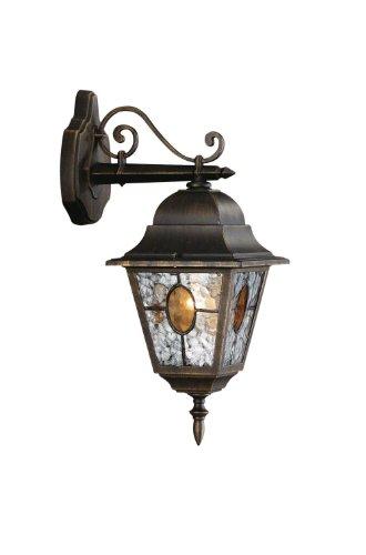 Philips München Lampada da Parete, Lanterna da Esterno Down, Vetro Smerigliato, Nero Anticato, Alluminio
