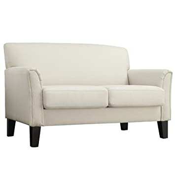 Warner Modern Loveseat Offers Clean Minimalistic Design - Upholstered in White Linen with Thick Cushioning on Seat