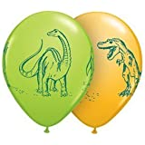"""Qualatex 11"""" Dinosaurs In Action Assortment Latex Balloons Bag of 10"""