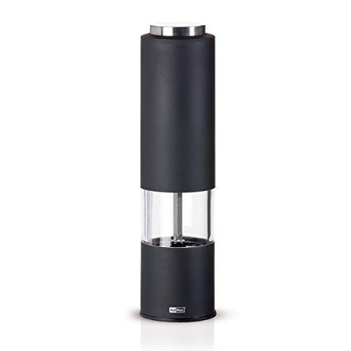 Elektrische Pfeffer- Oder Salzmühle Tropica Schwarz, Ceramic Mahlwerk Ceracut®, Led-Licht, Kunststoff/ Edelstahl/Acryl, D: 5 Cm, H: 21,5 Cm