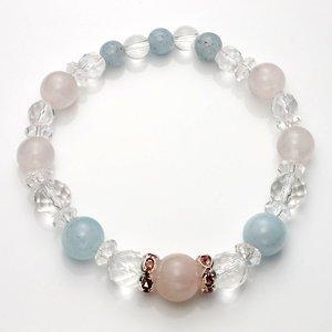 Aquamarine & Crystal & quartz natural stone stones bracelet