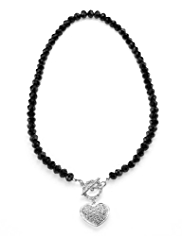 M&S Collection Diamanté Heart Pendant T-Bar Necklace