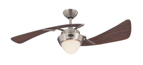 Westinghouse Lighting 7214100 Harmony Two-Light 48-Inch Two-Blade Indoor Ceiling Fan, Brushed Nickel with Opal Frosted Glass