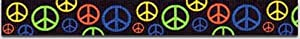 Peace Love & Harmony Dog Collar- 4 colors - Peace Signs Small 3/4in wide x 10in-14in long