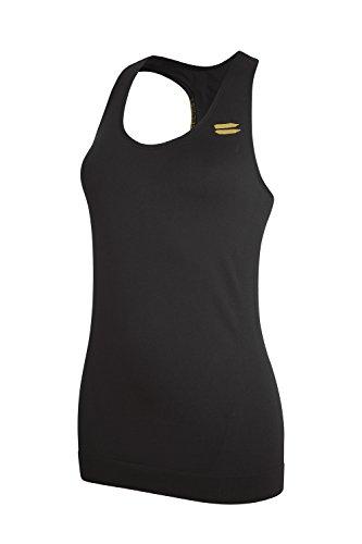 Tribesports - Canottiera sportiva senza cuciture, da donna, colore nero, nero (nero), S