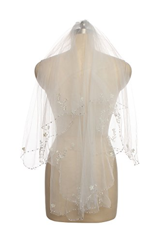 Passat 2T Wedding Veil Sequin Pearl Edge Luxury Crystals Beaded Bling Bridal Veil 62