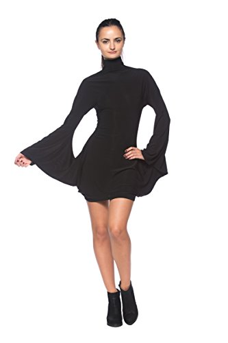 Women's Black Mock Turtleneck Batwing Sleeve Mod 1960s Retro Vintage Style Dress (Large) (Mod Clothing compare prices)