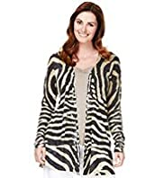 Plus Open Front Animal Print Cardigan with Linen