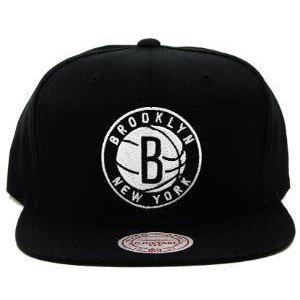 bd5ae6d5be0 NBA Mitchell   Ness Brooklyn Nets Standard Logo Snapback Adjustable Hat -  Black