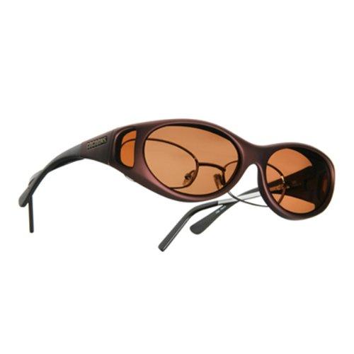 Cocoons Sunglasses: Fit Over Prescription Eyewear - Burgandy Frame, Polarized Copper Lens: Size Ml