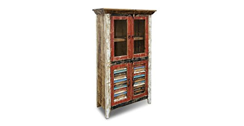 Crafters and Weavers Rustic Distressed Reclaimed Wood Curio, Glass Cabinet /Bookcase /Hutch 0