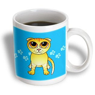 Mug_77517_1 Janna Salak Designs Cats - Cute Orange Scottish Fold Cat Cartoon - Orange Eyes - Blue Pawprints - Mugs - 11Oz Mug