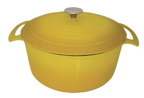 Le Cuistot Vieille France Enameled Cast-Iron 7.5 Quart Round Dutch Oven - 2 Tone Yellow