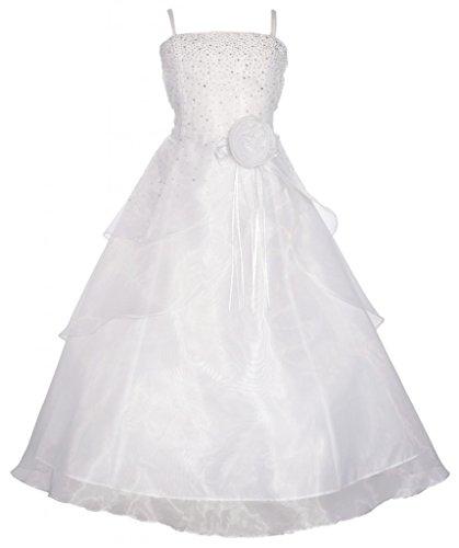 Wonder Girl Angelica Big Girls' Organza Tea Length Rhinestone Long Dress 8 White