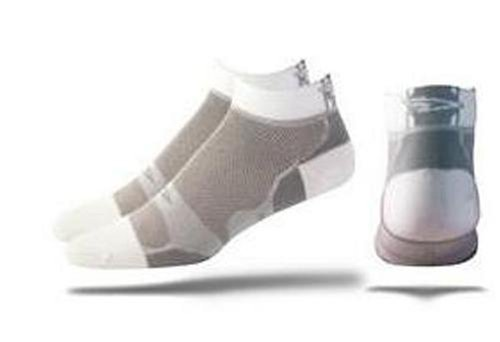 Buy Low Price DeFeet Levitator-Lite Low Cuff Sock MD Gray/White (LLLGRW201)
