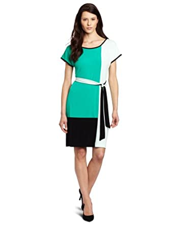 (清仓)Calvin Klein Colorblock Self Belt Dress女款主标蓝黑拼色系带连衣裙$57.43