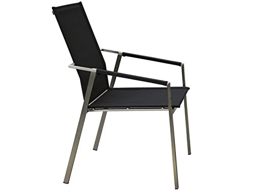LEON Garten Stuhl hoch Sit Mobilia Edelstahl Leisuretex Schwarz
