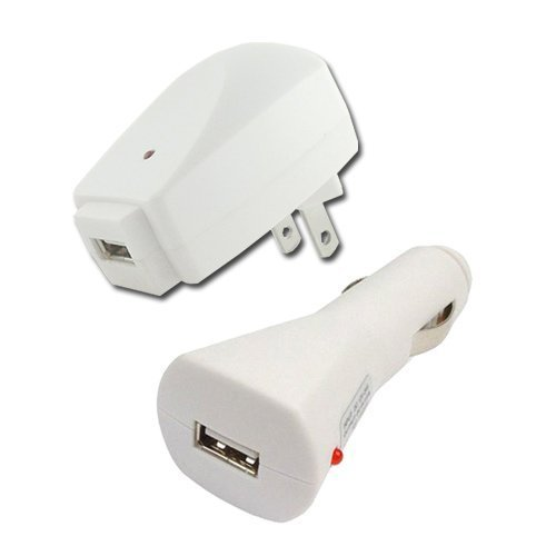 iShoppingdeals - USB Car Charger + Travel Wall AC Charger for Apple iPod Nano 4G 4GB 8GB