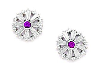14ct White Gold Red CZ Medium Flower Screwback Earrings - Measures 9x9mm
