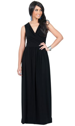 Koh Koh Women's Designer Crossover Wrap Chest Sleeveless Maxi Dress – XX-Large – Black