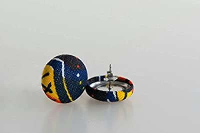 "Fabric button earrings (3/4""), African fabric button earrings, Ankara fabric button earrings, Fabric Earrings, Button earrings (Chaka)"