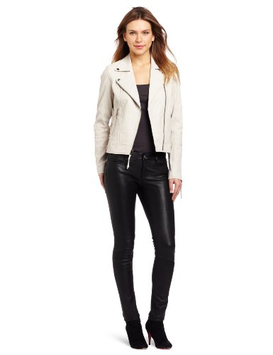 Sanctuary Clothing Women's Lace Up Motor Head Leather Jacket, Bone, X-Small