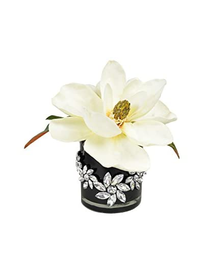 Creative Displays Magnolia In Container Embellished By Rhinestone Flowers, White/Black