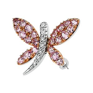14k White-Gold Pink Sapphire & Diamond Dragonfly Brooch