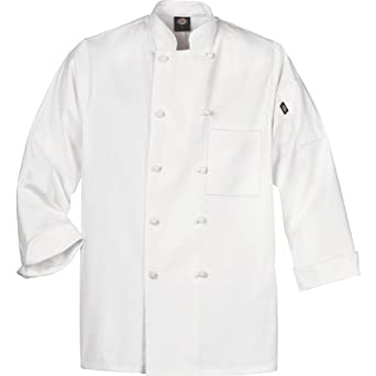 Dickies Occupational Workwear DCP109WHT Spun Polyester Knot Button Chef Coat with Reversible Closure, White