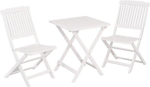 Stern 426687 Balkonset Pecos, Akazie weiß lackiert, 2 Klappstühle, 1 Klapptisch 60 x 60 cm