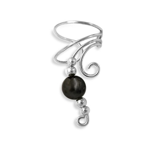 Bling Jewelry Hematite Gemstone Ear Cuff Right Ear Long Wave 925 Sterling Silver