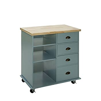 Oliver and Smith - Nashville Collection - Mobile Kitchen Island Cart on Wheels - Blue Grey - Natural Oak Butcher Block - 31