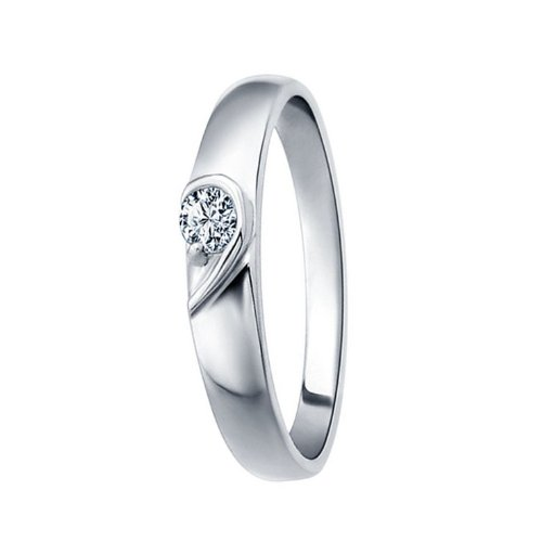 Couple Jewelry Half Heart-shaped Pattern Silver Plated Cubic Zirconia Mens Ladies Promise Ring (Ladies' Size 6)