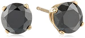 2 cttw Black Diamond Stud Earrings 14k Gold by Amazon Curated Collection