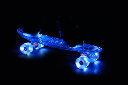 Sunset Skateboards Wave Complete Skateboard With Blue Wheels, 22-Inch, Blue