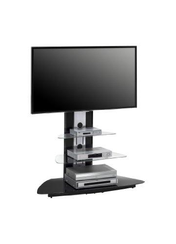 MAJA-Möbel 1628 9442 TV-Rack  Metall Alu - Schwarzglas  Abmessungen BxHxT  110 x 127 5 x 52 5 cm