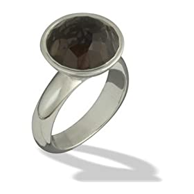 Beveled Globe Smokey Quartz Ring in Sterling Silver