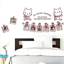 Cute Kitty Photo Frame Removable Kids Childrens Nursery Wall Sticker Decal