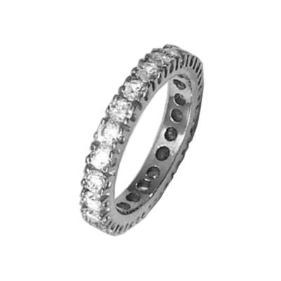 Ladies Sterling Silver Clear Cubic Zirconia Eternity Band Wedding Ring