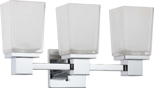 Nuvo Lighting 60/4003 Three Light Parker Vanity with Sandstone Etched Glass, CUL Damp Location, Polished Chrome