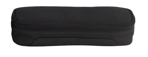 Danielle Black Tie Rectangular Pencil Case, Black/pink