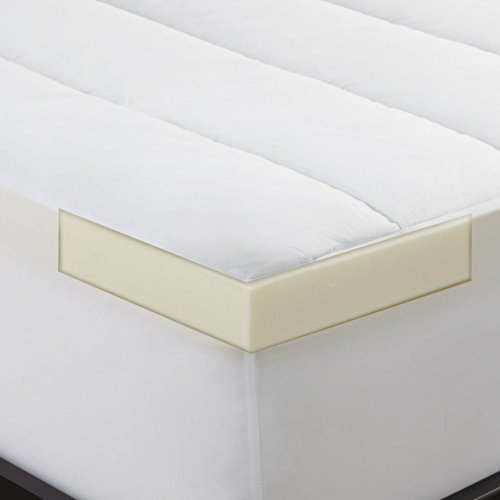 Find Discount Sleep Innovations 2 inch Memory Foam Mattress Topper and Dreamaway Waterproof Mattress...