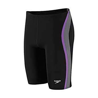 Speedo 8051366 Mens Quark Spliced Jammer, Black/Purple, 28
