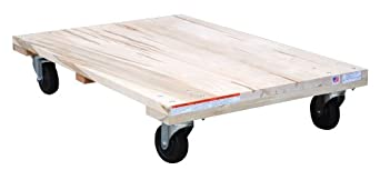 "Vestil HDOS-2436-12 Solid Deck Hardwood Dolly with Hard Rubber Casters, 1200 lbs Capacity, 36"" Length x 24"" Width x 6-3/4"" Height"