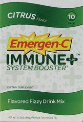 Emergen-C Immune Plus System Booster Flavored Fizzy Drink Mix, Citrus Flavored, Citrus Flavor 10 pac