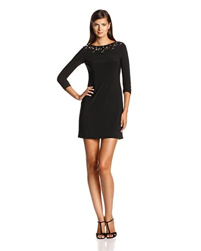 Vince Camuto Women's Long Sleeve Beaded Neckline Dress