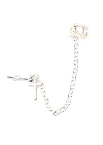 Tiny Cross Stud Earring Ear Cuff Wrap Dangling Chain Silver Tone Earring Fashion Jewelry